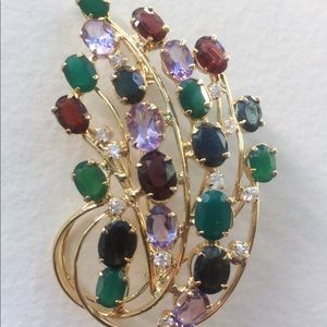 Vintage Gems and Rhinestones Spray Brooch